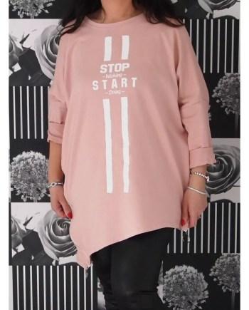 Teegan Asymmetric Zipped Slogan Top - Pink