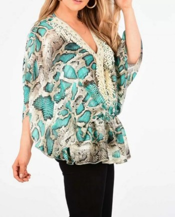 Shelby Snake Print Top - Turquoise