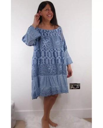 Angela Bardot Lace Dress - Blue
