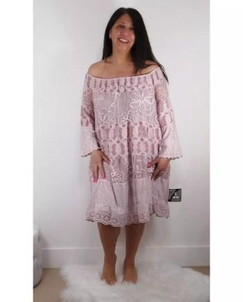 Angela Bardot Lace Dress - Pink