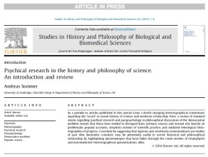 Pre-Print Introduction to SHPSC Special Issue Now Available