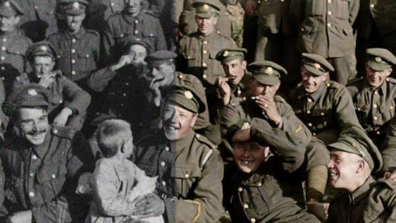 The original image vs the colourised artistic rendition (Picture: WingNut Films with Peter Jackson).