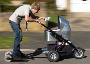 IF YOU'RE TOO LAZY To Take Your Baby Out For A Walk, This Hot Rod, Motorized Stroller Might Just Be Your Ticket To Good Parenting Town