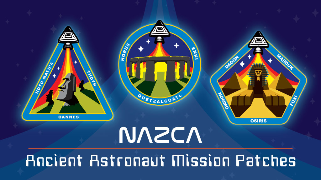 NAZCA-ancient astronaut mission patches Coghill Kickstarter