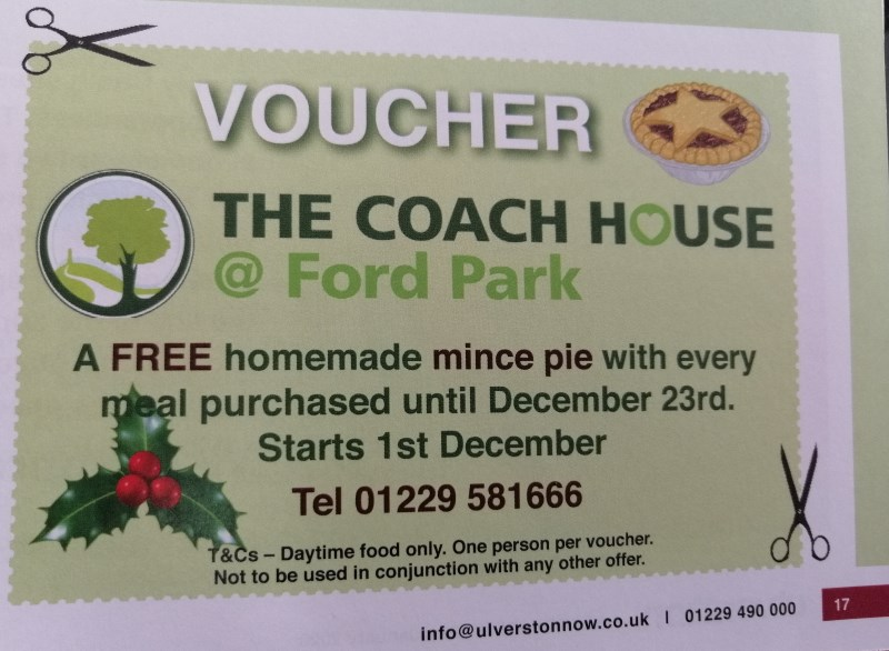 Voucher offer for free homemade mince pie