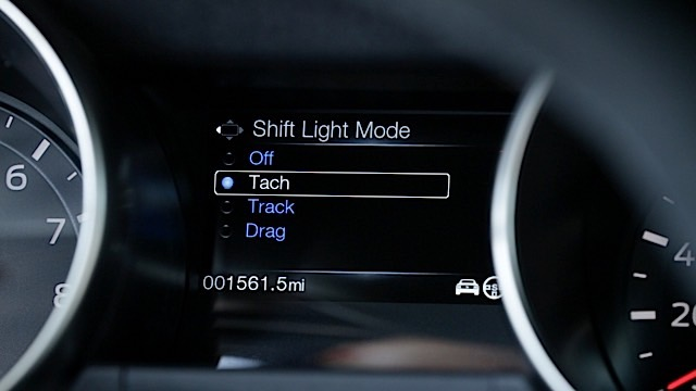 The Shelby GT350® Mustang features a Performance Shift Light Indicator with Track, Tach and Drag mode.
