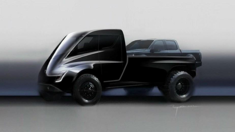 Tesla Pickup Truck Hauling An F-150