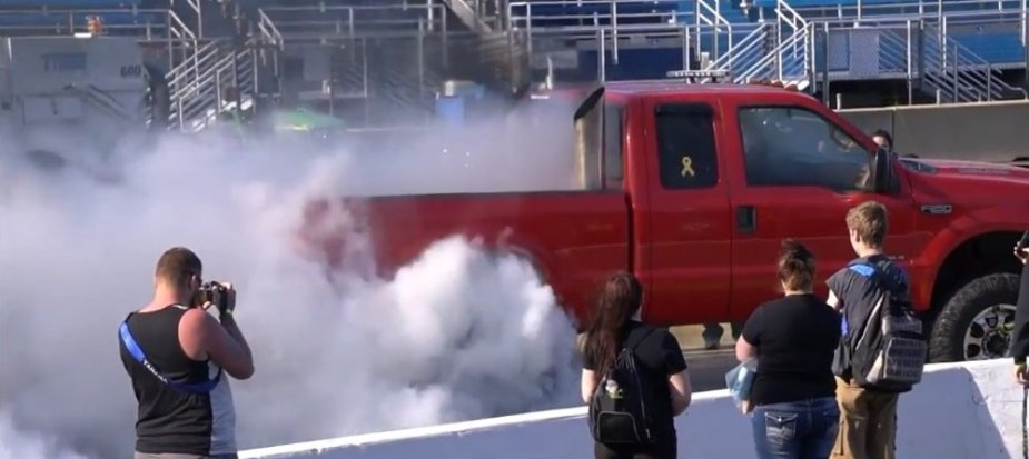 Red F-250 Diesel Burnout