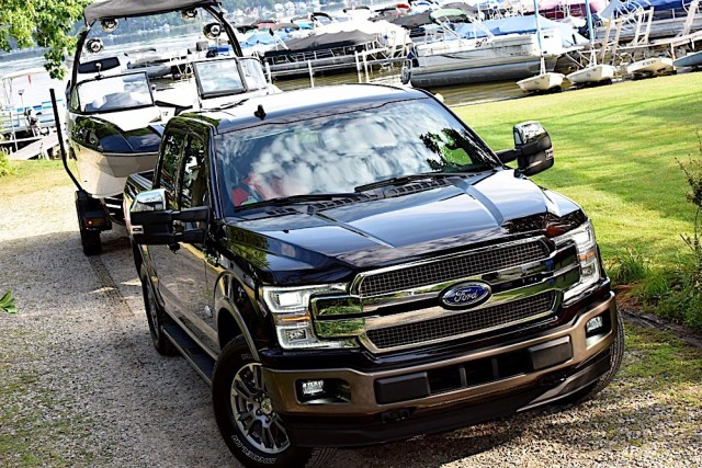 2018 Ford F-150 towing a boat
