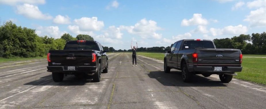 GMC Sierra Vs F150 Drag Race