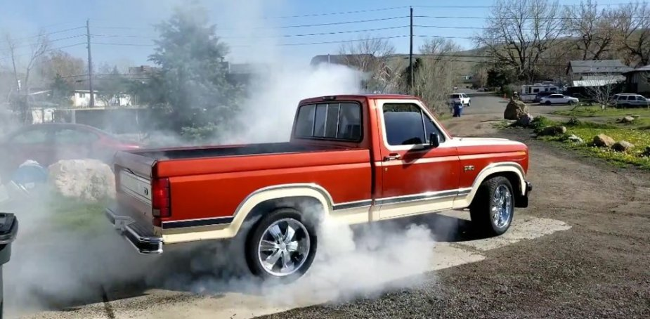 1984 Ford F-150 One Wheel Burnout Wide
