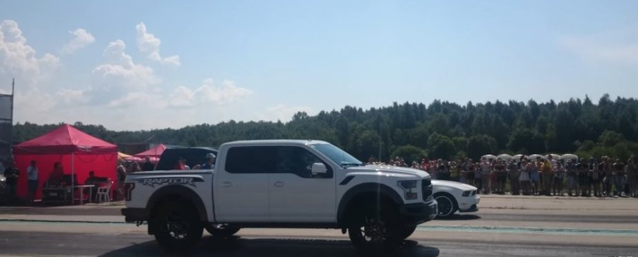 Raptor Lined Up with a Mustang Boss 302