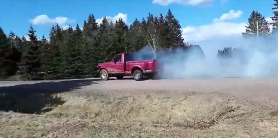 Pink 1993 Ford F-150 Burnout Rear