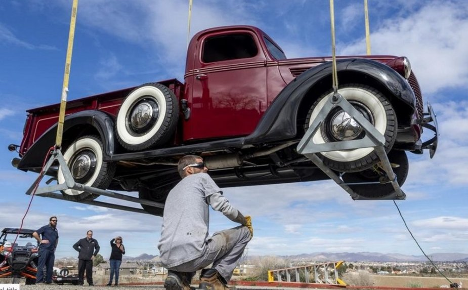 1939 Ford Truck Being Lifted
