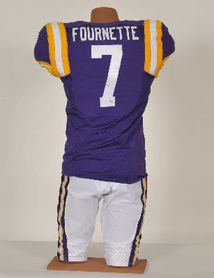 "Photo credit: LSUauction.net. ""This game-used, one of a kind, autographed No. 7 jersey was worn by Heisman Trophy candidate Leonard Fournette during the Oct. 10, 2015, football game between LSU and South Carolina."""