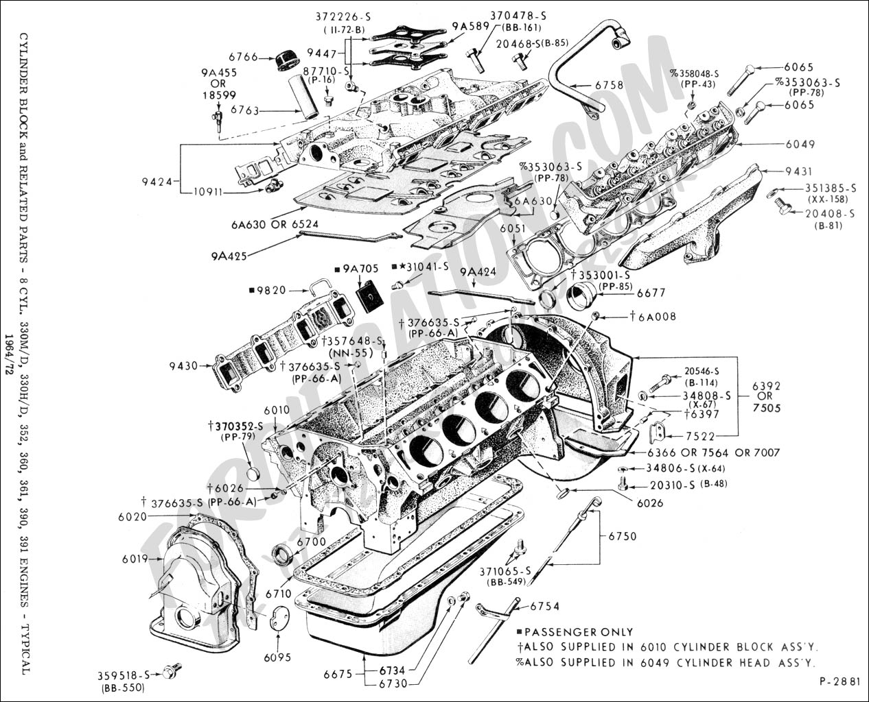 Ford 460 Engine Exploded View