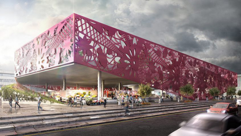 Exterior rendering of Jamaiquita market, 3d visualization services