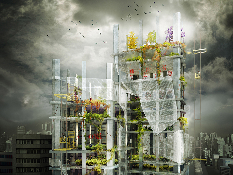 vertical farms visualization in Korea, 3d visualization