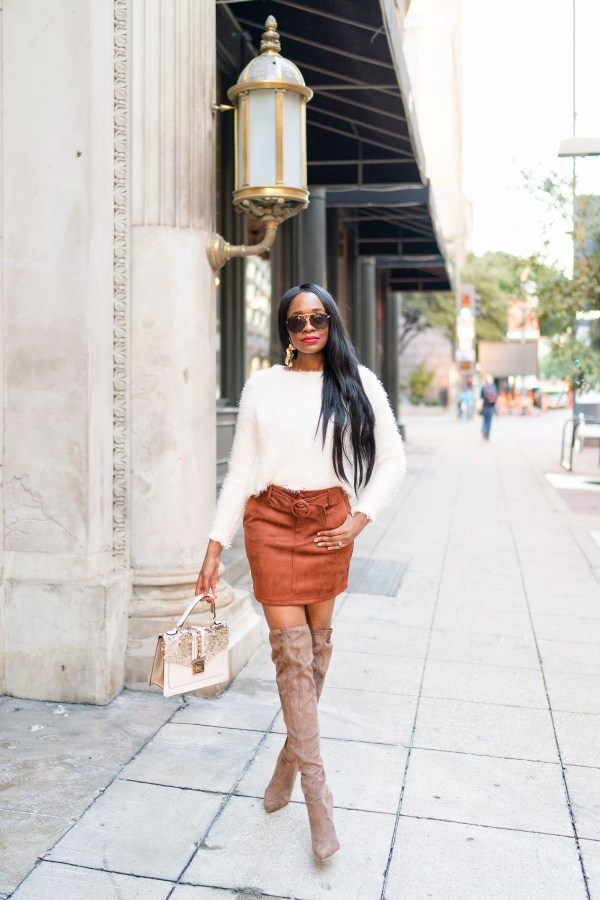 Black women fashion street style fuzzy sweater fall fashion trend suede style suede boots skirt