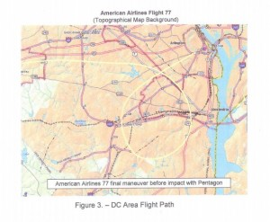 The flight path of American Airlines Flight 77 from the NTSB