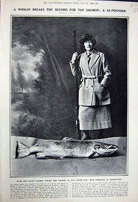 Georgina Ballantine River Tay, Schottland 1924 – 64 Pfund: größter mit Rute gefangener Lachs im UK