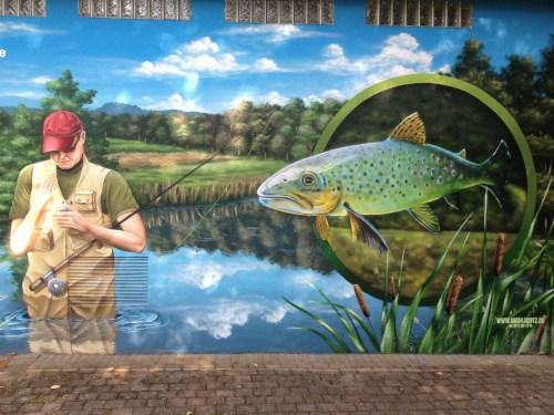 Forelle Äsche Fliegenfischen Urft Wandgemälde