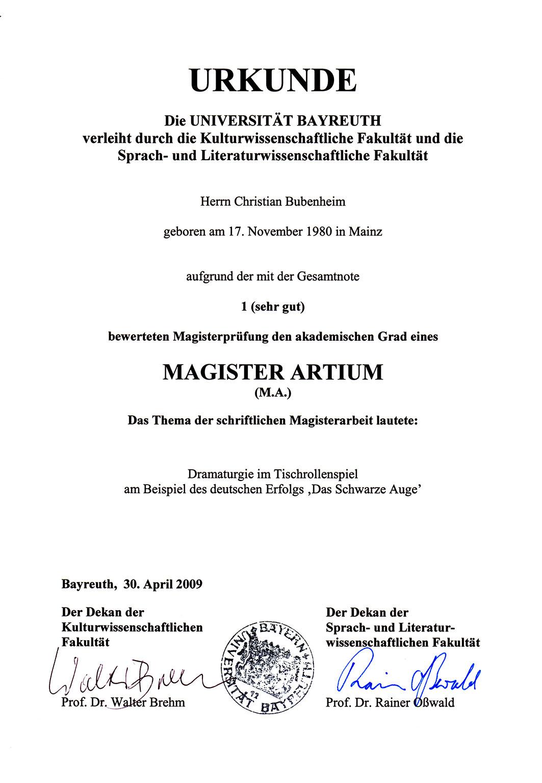Bubenheim: Magisterurkunde