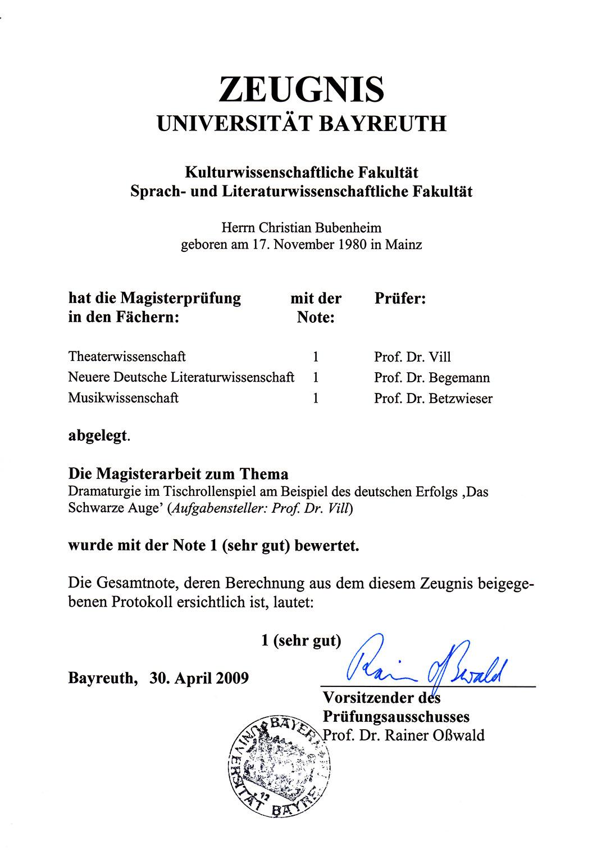 Bubenheim: Magisterzeugnis