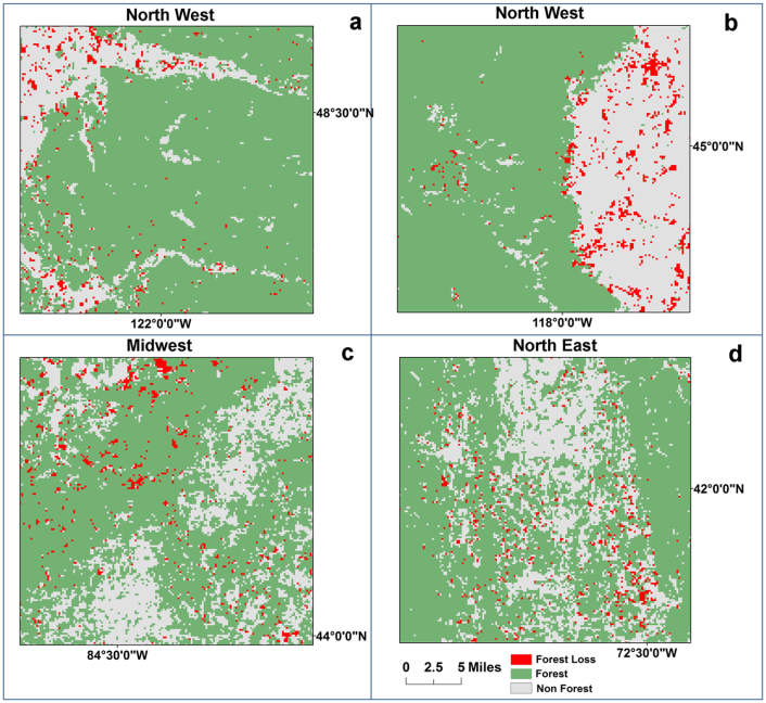 forest attrition visualized in four ecoregions.