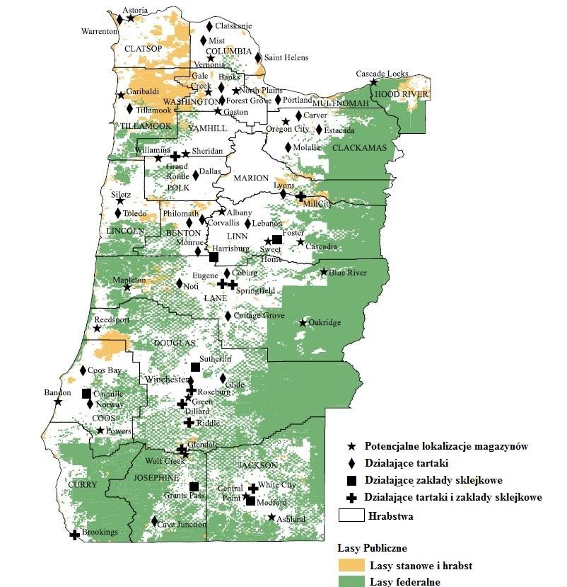65 punktów przetwarzania biomasy w stanie Oregon