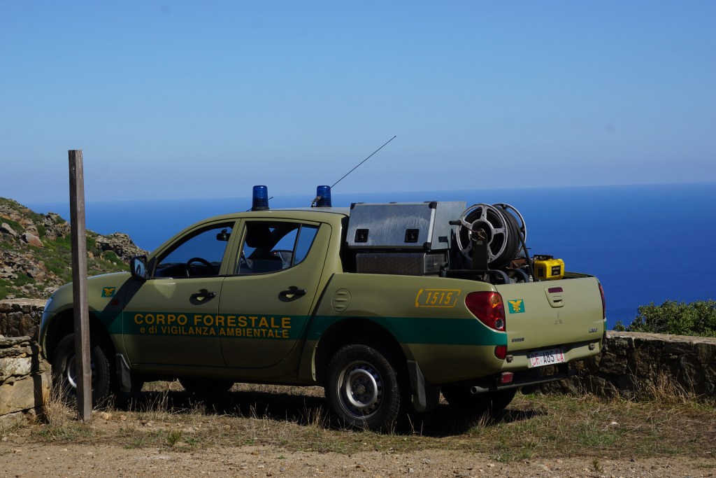 Corpo Forestale vehicle with fire suppression system on the Asinara island