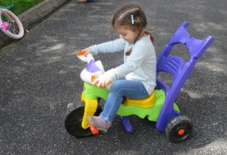 Test driving a tricycle.