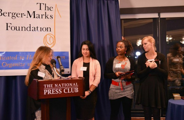 Berger-Marks Foundation trustee Kitty Petticord introduces the inaugural Kate Mullany winners Yesica Mendez, Donyetta Hill and Ellen Brackeen.