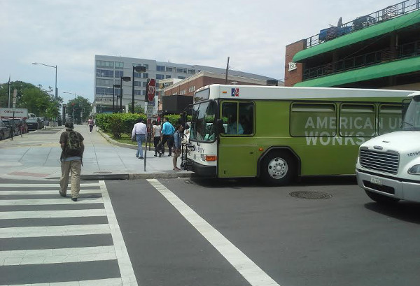 DDOT Pedestrian Coordinator George Branyan took this photo of the AU bus parked at the intersection during the May 14th safety event.