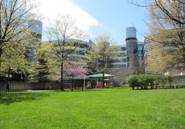 A view of Broadcasters' Child Development Center from the park.