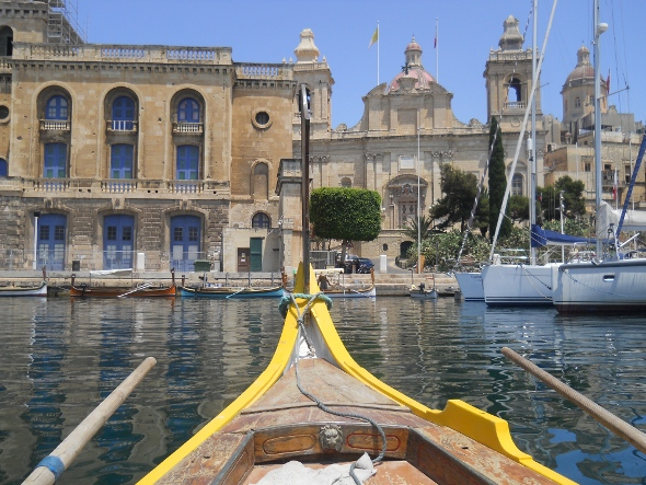 On a boat to the ancient city of Birgu.