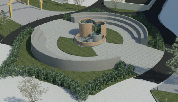 A closer view of the park in the middle of the circle. The UDC architecture students envision a water feature here.