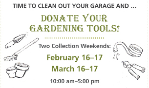 Click the image to download the flyer with more information on the garden tool donation drive.