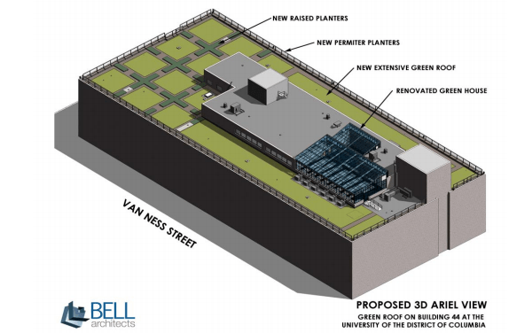 Architect's rendering of the Building 44 roof project. (Image courtesy of Steve Saari, DDOE)