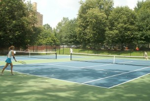The new tennis court in Forest Hills might be a great place to meet new people. (photo by Lee Armfield Cannon)