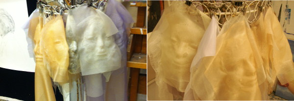 """Polan's gauze faces for her """"Covert Autobiography"""" series."""