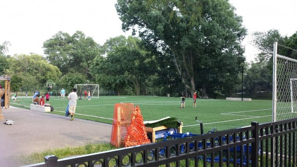 New turf on the Hearst soccer field.