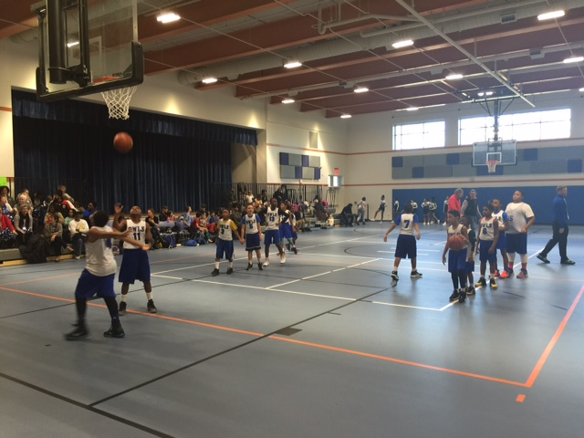 Hearst boys' basketball team warming up (photo by Jacqui Allen-Settles)