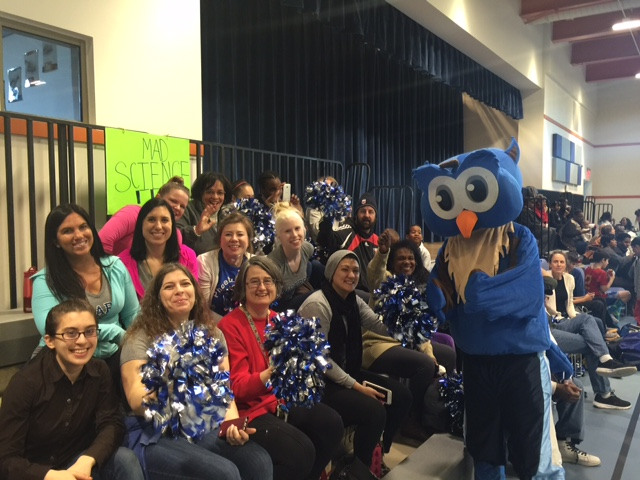 Hearst staff, Owl mascot and parents cheering on the kids (photo by Jacqui Allen-Settles)