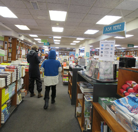 Annette heading into Politics and Prose.