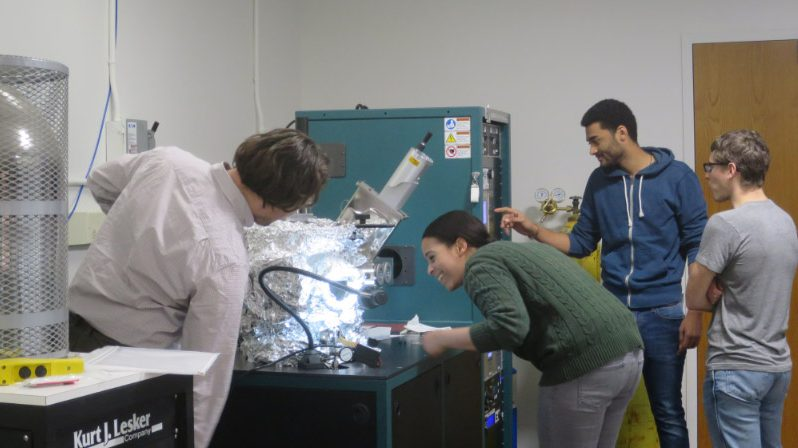 UDC Students Tobias Goulet, Beachrhell Jacques, Edward Friebe and Collin Baker in the UDC nanotechnology lab. (photo by Marlene Berlin)