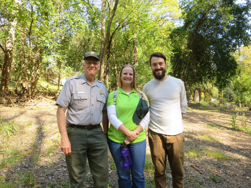 Left to right: Bill Yeamen of the National Park Service; Rachel Gauzza, a biologist with DOEE's Fisheries and Wildlife Division; and John Maleri, Rock Creek Conservancy's volunteer coordinator. Maleri also heads RCC's invasive species removal efforts.