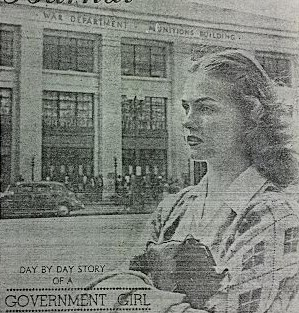 """In 1942, The Times-Herald newspaper ran a series called """"Jane's Journal,"""" about a  fictional """"government girl."""" Here, Jane is shown in front of the Munitions Building."""