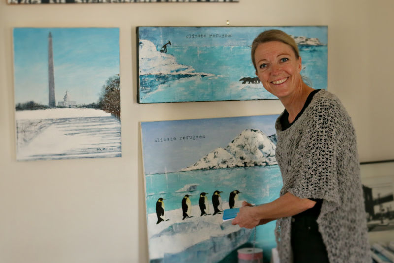 Karin Lithell was an artist-vendor, organizer and the host of the event. (photo courtesy of Jules Conley)