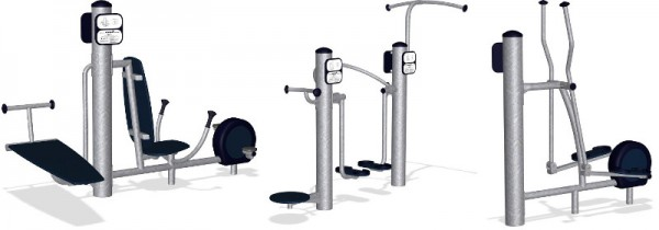 The adult exercise equipment chosen for this project are the Kompan core cycler (left), complete body toner (center) and cross trainer (right).